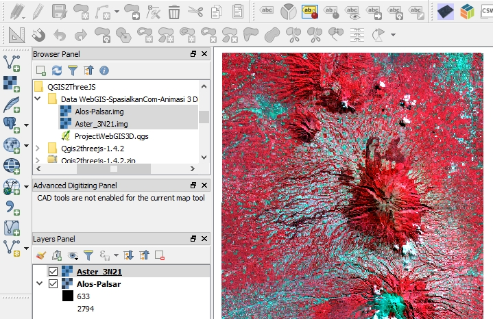 Tutorial WebGIS Animasi 3 Dimensi dengan QGIS2ThreeJS - Input Layer