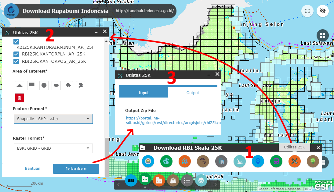 Tutorial mudah download shp gdb rupabumi indonesia area of interest aoi