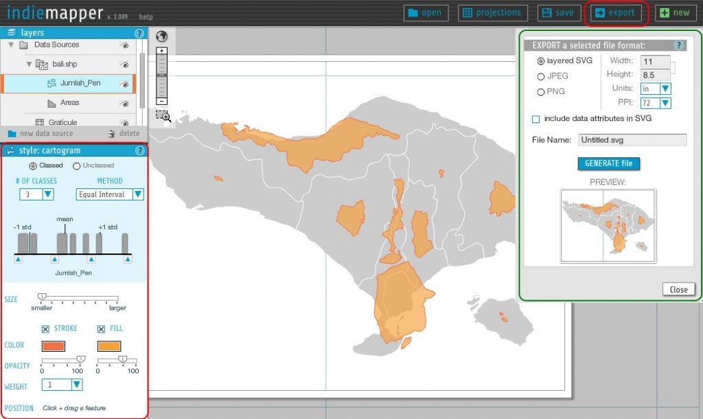 IndieMapper 3 - Tutorial Membuat Kartogram Non Contiguous - Style dan Export