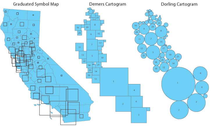 Pengertian dan Jenis Kartogram - Dorling Demers Cartogram