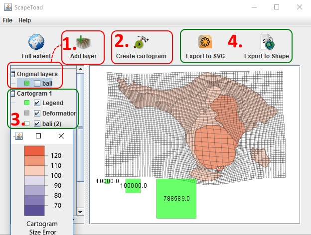 Software Scapetoad - Cara Membuat Visualisasi Data Statistik Kartogram Contiguous