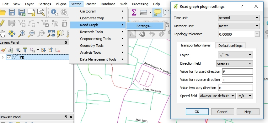 Tutorial-Network-Analyst-QGIS-Settings-Plugin-Road-Graph