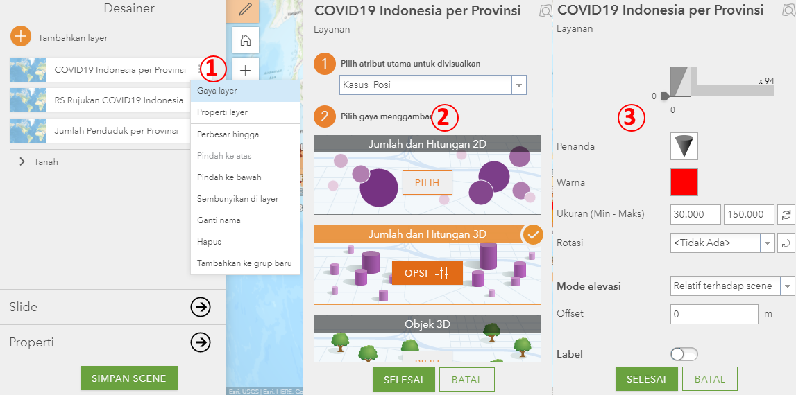 5. Cara Simbolisasi Data 3D Scene Viewer di ArcGIS Online