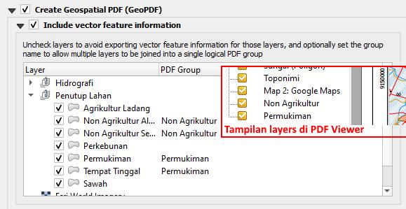 Pengaturan Layers Group Eksport Layout Peta GeoPDF di QGIS