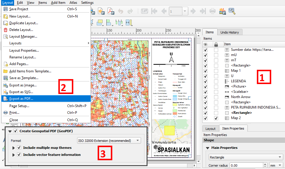 Tutorial eksport layout peta file Geospasial PDF QGIS